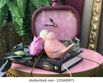 Little pink bird in a wedding decoration