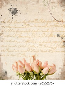 Little pink roses bouquet - vintage background