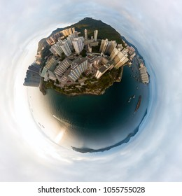 Little planet 360 degree sphere aerial shot. Panoramic view of the Wah Fu Estate and the surrounding Pokfulam area in Hong Kong.