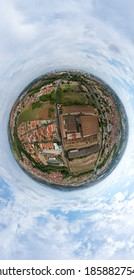 Little planet 360 degree sphere. Panorama of aerial view of Piracicaba, São Paulo - Brazil