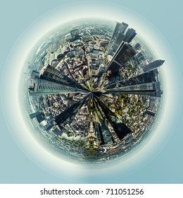 Little planet 360 degree sphere. Panoramic view of Frankfurt am Main city, Germany