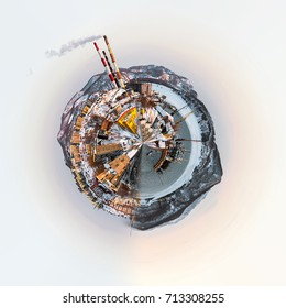 Little planet 360 degree sphere. Panoramic view of Petropavlovsk-Kamchatsky city, seaport and power plant. Far East, Russia