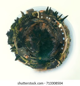 Little planet 360 degree sphere. Panorama of Gordes, beautiful hilltop village in France. Provence-Alpes-Cote d'Azur region