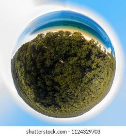 Little planet 360 view of Morton Island, Queensland Australia