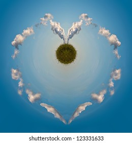 Little planet with heart shaped gas clouds going around a green globe, concept: clean/green energy