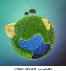 little planet isolated on blue background