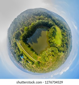 little planet of lake in summer