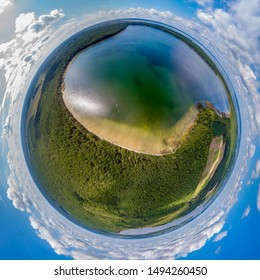 The little planet panorama White lake, Naroch, Belarus. Drone aerial panorama 360°