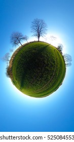 Little planet - spherical view of green fields with trees and blue sky