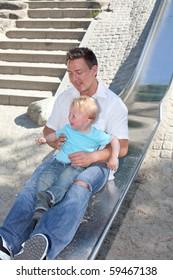 Little playground in summer