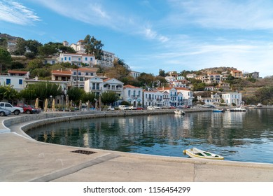 little port of ikaria and greek houses