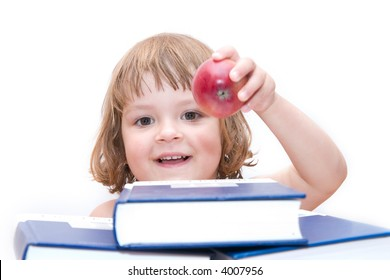 little preschooler girl behind a pile of books, isolated on white