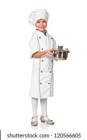 little pretty girl chef holding a pot. Isolated