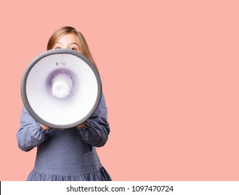 little pretty girl with a megaphone