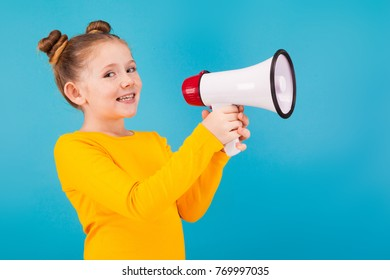 a little pretty girl with megaphone