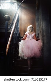 little princess in an old castle.a little girl with blond hair in a light pink dress in an old stone house with stems.