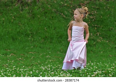 Little princess on the lawn