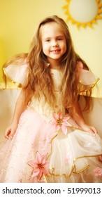 little princess smiling beautiful dress