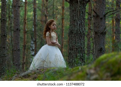 Little princess wallks in an evening dress in a summer forest, natural light