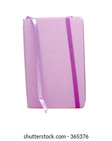 Little Purple notebook/journal with attached ribbon bookmark, and elastic closure.