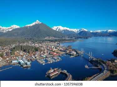 Little quaint town of Sitka with snow capped Mt. Verstovia in the background