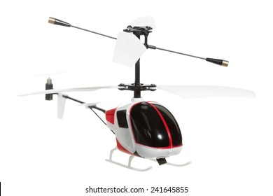 Little RC helicopter on white background