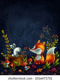 Little red fox in the magic forest