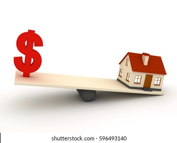 Little red house on weight and dollar 3d