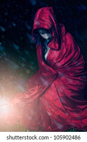 Little red riding hood caught in a snow storm