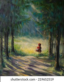 Little Red Riding Hood fairy tale.Picture created with acrylic .