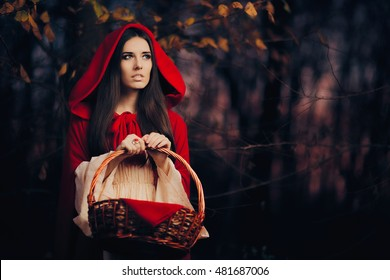 Little Red Riding Hood in the Forest - Portrait of children's book heroine in the woods