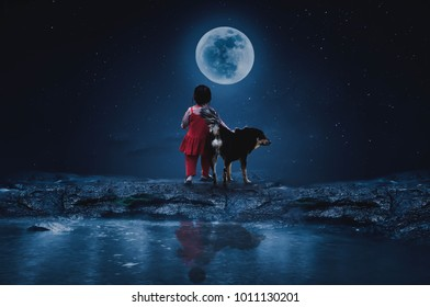 Little Red Riding Hood with a wolf watching the full moon on a lonely night.