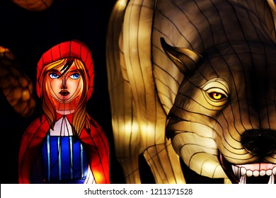 Little Red Riding Hood and Wolf. Photograph captured at Longleat's Festival of Light, 2017