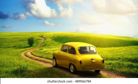 little retro car goes by wonderful countryside road at sunset 3d