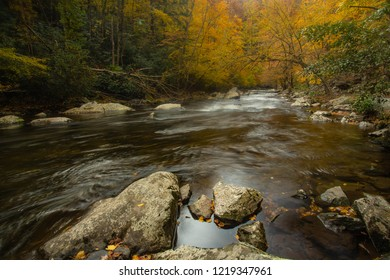 Little River in Autumn in Great Smoky Mountains National Park of Tennessee