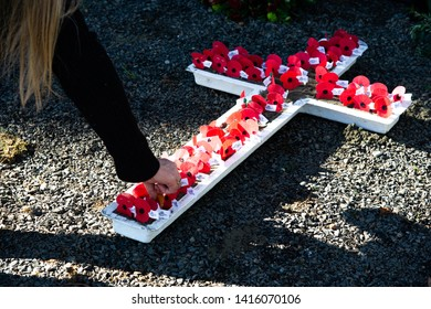 LITTLE RIVER, NEW ZEALAND - APRIL : People put red remembrance poppies on white wooden cross to commemorate the loss of War heroes on Anzac day 25 April,2019 at Little River War Memorial, New Zealand