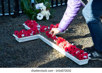 LITTLE RIVER, NEW ZEALAND - APRIL25: People put red remembrance poppies on white wooden cross to commemorate the loss of War heroes on Anzac day 25 April 2019 at Little River'War Memorial,New Zealand.