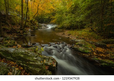 Little River in Smoky Mountains in Fall colors