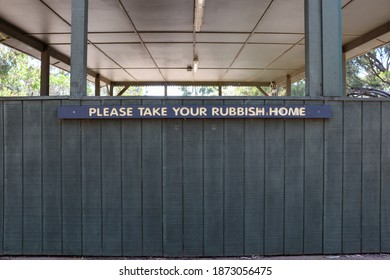 Little River, Vic Australia - Dec 13 2020: Take your rubbish home sign on picnic shelter