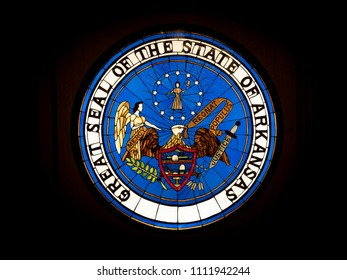 LITTLE ROCK, AK, UNITED STATES - May 30, 2018: Great Seal of the State of Arkansas displayed in the Arkansas capitol building.  Regnat Populus is the state motto meaning The People Rule.