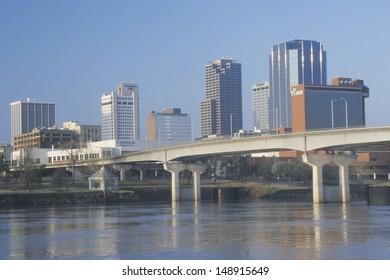LITTLE ROCK, ARKANSAS - CIRCA 2004: Arkansas River and skyline in Little Rock, Arkansas