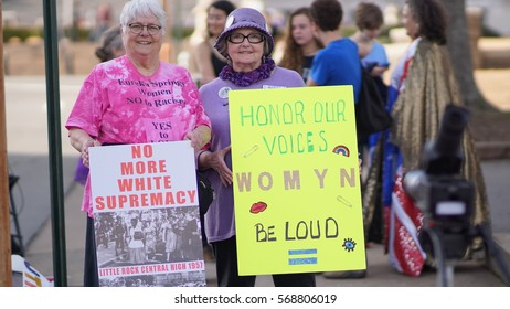 "Little Rock Arkansas Jan 21, 2017: two women in protest for the ""Women's March on Arkansas,"" a demonstration for women's rights"