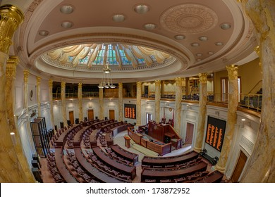 LITTLE ROCK, ARKANSAS - JANUARY 15: Fish-eye view of the House of Representatives chamber of the Arkansas State Capitol building on January 15, 2014 in Little Rock, Arkansas