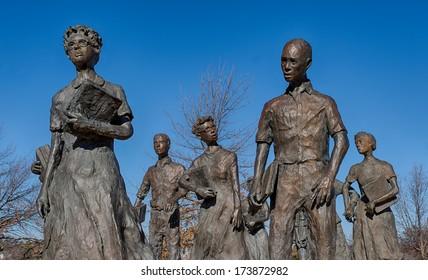 LITTLE ROCK, ARKANSAS - JANUARY 15: Little Rock Nine Civil Right Memorial on the grounds of the Arkansas State Capitol building on January 15, 2014 in Little Rock, Arkansas