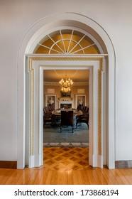 LITTLE ROCK, ARKANSAS - JANUARY 16: Cabinet Room replica in the William J. Clinton Presidential Library and Museum on January 16, 2014 in Little Rock, Arkansas