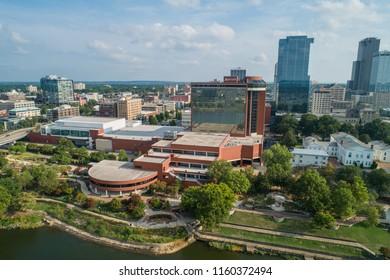 LITTLE ROCK, ARKANSAS, USA - AUGUST 1, 2018: Aerial photo Little Rock Arkansas Statehouse Convention Center