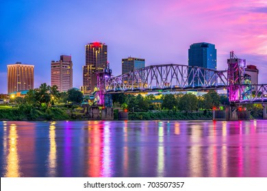 Little Rock, Arkansas, USA downtown skyline on the Arkansas River.