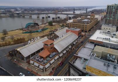 Little Rock, Arkansas/USA January 30, 2017- Aerial image  of  Little Rock, Arkansas and it's River Market District.
