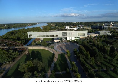 Little Rock, Arkansas/USA Sept. 30, 2018- Aerial image of The William J. Clinton Presidential Library in Little Rock, Arkansas/USA Sept. 30, 2018.