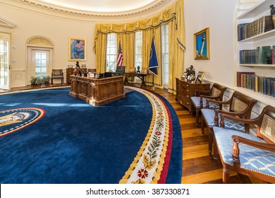Little Rock, AR/USA - circa February 2016: Replica of White House's Oval Office in William J. Clinton Presidential Center and Library in Little Rock, Arkansas